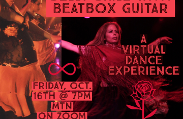 "Dancer in full skirt and maton with arms outstretched under red lighting. Text reads ""Belly Baile with Beatbox Guitar"" A Virtual Dance Performance, Saturday Oct. 16th at 7pm MT Over ZOOM."