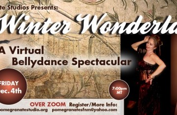 """Text reads """"Winter Wonderland: A Virtual Bellydance Spectacular"""" three dancers appear in front of a textured beige background."""