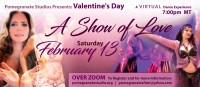 Pink and purple background with three dancers. Text reads: A Valentine's Day: A Show of Love. Saturday, February 13th.